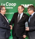 From left to right, Yves Gagnon, honorary president of Groupe BMR, Denis Richard, president of La Coop fédérée and Gaétan Desroches, chief executive officer at La Coop fédérée, all gathered at the announcement of the arrival of Groupe BMR within La Coop fédérée (CNW Group/La Coop fédérée)