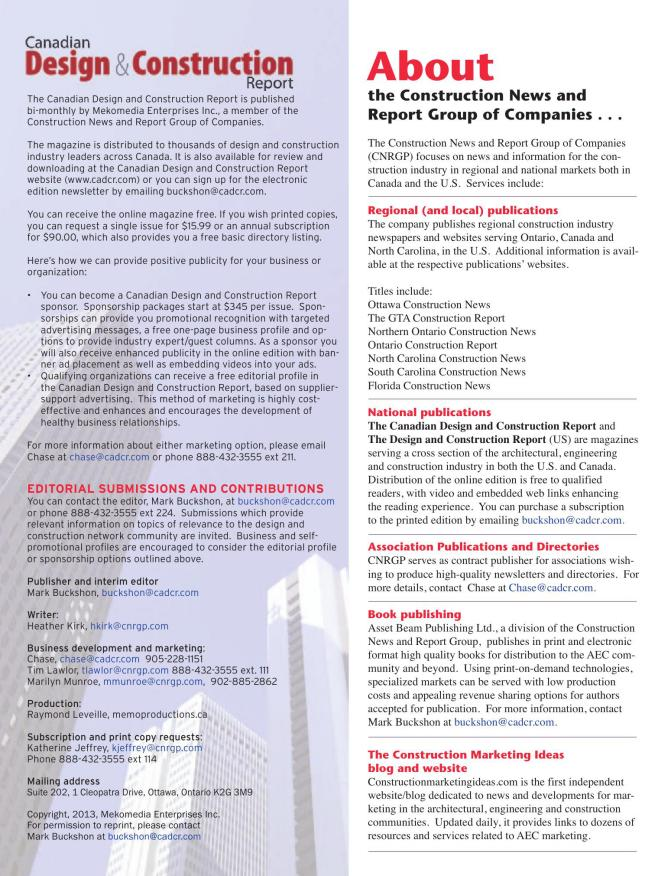 819 432 3737 >> The Canadian Design And Construction Report