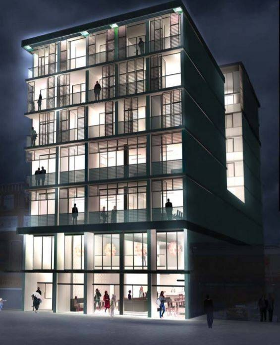 Rendering for the Chinatown condo building that resembles a lantern (Mallen Gowing Berzins Architecture)