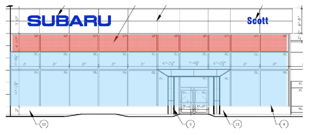 Figure 3: South elevation showing insulated spandrel panel (red) and standard curtain wall
